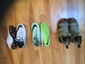 Soccer shoes (indoor and cleats (youth 4.5),  Nike shoes (5.5)