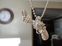 4 Brand New Pewter Twisted Barrel Pistol Necklaces -$3.00 each