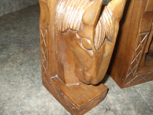 carved horse head bookends London Ontario image 1