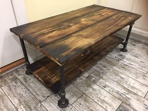 Reclaimed Pine & Industrial Iron Pipe Coffee Table