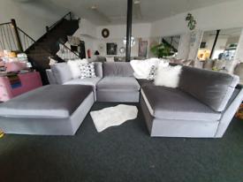 NEW CLEARANCE Grey Velvet Modular 4 Seater Sofa / Corner / 3 + 1 suite