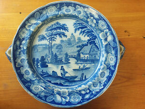 Antique blue & white Oxfordshire warming dish