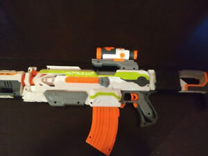 fairly used nerf modulus, with stock, sight, barrel