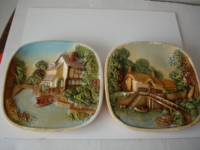 Two Vintage Legends England 3D Chalkware On the Riverbank Plaques Wall Art