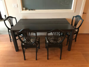 Black dining table and chairs
