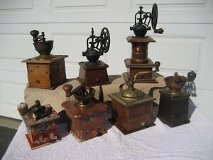 Collection of seven Coffee Grinders