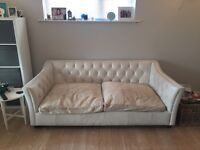 Large white 3 seater leather sofa