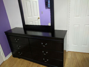 Ashley  Queen bed with Dresser and side table