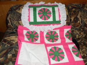 """brand new homemade baby blanket/quilt with pillow sham 66"""" x 52"""""""