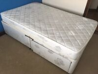 SMALL DOUBLE BED DIVAN WITH MATTRESS USED BUT CLEAN