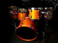 Drum World UK 5-Piece Full Maple Drum Kit w/Keller Shells & RIMS System in Thru Amber