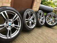 "Genuine BMW 3 Series 18"" 400 M Sport Alloy Wheels & Tyres F30 F31 F32 F33 E46 E90 E92 Z4 New Tyres"