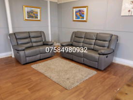 Beautiful brand New grey leather 3+2 seater sofa