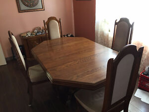 Dining table with 4 chairs plus server
