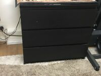 Ikea Malm Chest of 3 Drawers (WITH GLASS TOP)