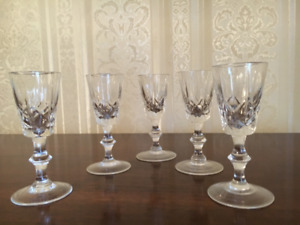 Five Cross and Olive crystal iqueur glasses
