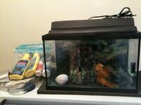 10 gallon fish tank with accessories.