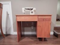 Omega Sewing Machine with oak cabinet