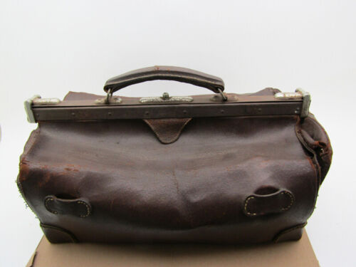 Antique Brown DOCTOR LEATHER LARGE BAG VINTAGE OLD Medical Satchel