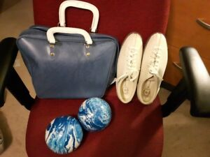 Bowling Bag,  2 Balls  and  Size 8 Shoes