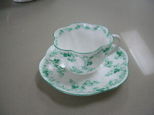 Shelley Green Roses and Vines cup and saucer 12086/27
