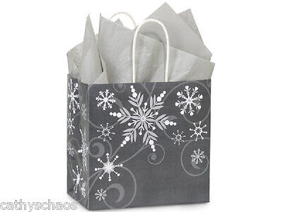 25 Swirling Snowflakes Grey Silver Christmas Holiday Paper Gift Bags Junior Size