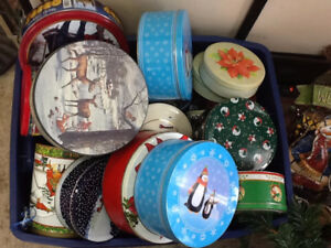 Circular Metal Christmas Cookie and cake bins and containers