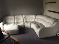 Real leather light grey corner sofa