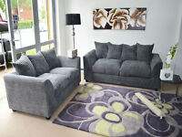 **7-DAY MONEY BACK GUARANTEE!** - 3 and 2 Desmond Italian Cord Sofa Set- NEXT DAY DELIVERY!