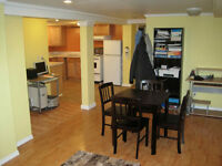 BRIGHT & SPOTLESS basement apt. for quiet tenant steps from BGH