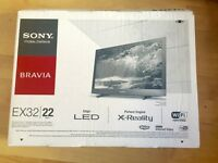 Almost new Sony Bravia EX32 22 LED TV with wifi and Internet, hdmi and USB ports
