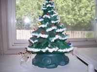 """Large Vintage Ceramic Christmas Tree 17"""" Tall On/Off Switch"""