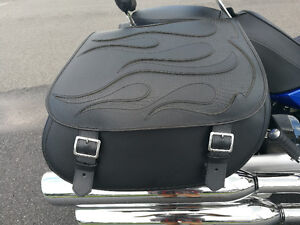 Black flame motorcycle leather saddlebags for sale