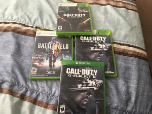 COD Ghosts, Black Ops, Battlefield 3, COD Ghosts XBox 1.