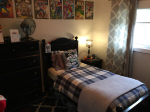 Clean twin bed, tall dresser & night stand incl. quality bedding