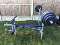 Bench press, EZ curl Bar and two dumbells for sale