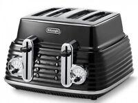 Black De' Longhi 4 Slice Scultura Toaster