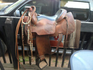Western saddle, pad and bridal