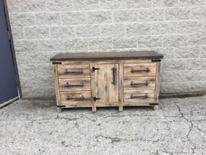 "60"" Light Brown Rustic Barn wood Vanity/Dresser"