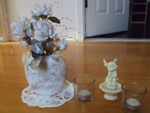 Vases with flowers and decoration