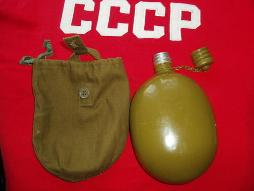 Soldier of the Russian Army original military flask of the USSR with a case