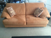 Orange Sofa/Couch and Cushions