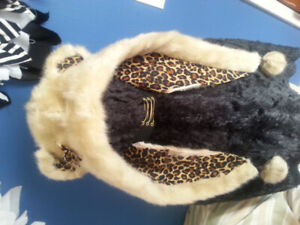 Women' light brown bear with leopard print lining & ears & a bow