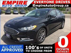 2017 FORD FUSION SE * ONE OWNER * LEATHER/CLOTH * REAR CAM * SUN