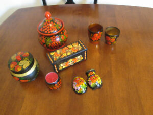Set of Khokhloma Russian Souvenirs Wood, Hand Painted