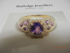 LADIES AMETHYST & DIAMOND  RING-( Price just reduced)