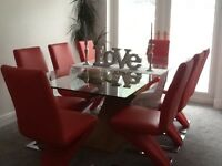 Glass & oak dining table & chairs - viewing recommended