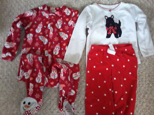 Girls size 4 holiday shirts and pjs