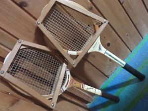 2 VINTAGE WOODEN TENNIS RACKETS SELLING TOGETHER ASKING $55