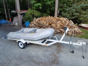 10ft Zodiac style inflatable,trailer and 5hp honda long shaft